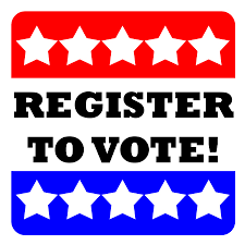 register to vote sign, red top with five white stars within the red and the bottom is blue with five white stars within that