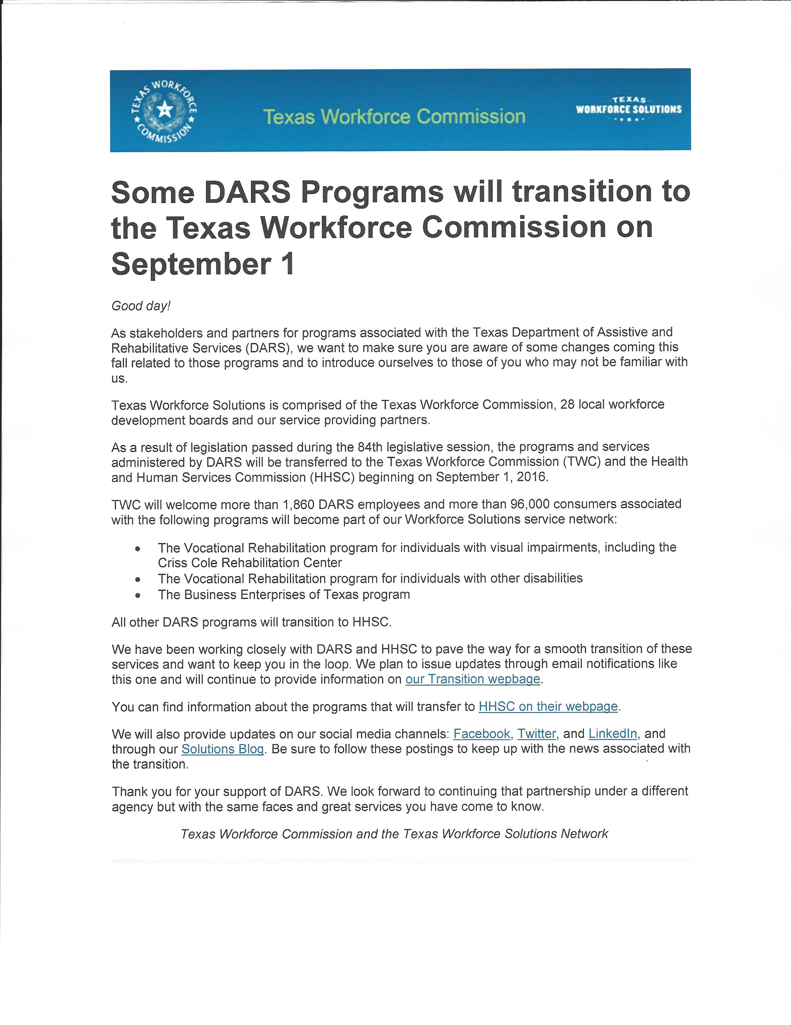 Important Information Regarding The Transition Of Some Dars Programs